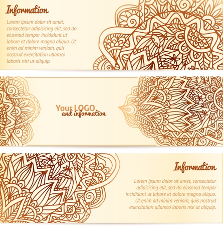 mehndi: Ornate henna ornament vintage vector banners Illustration