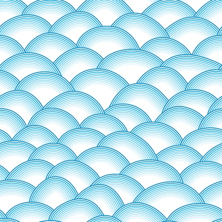 dragon fish: Blue retro fish scales vector seamless pattern