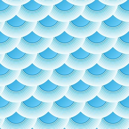 escamas de peces: Azul retro escalas de pescados vector sin patrón