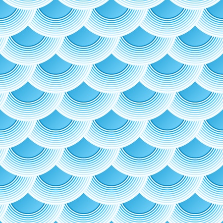 fish scales: Blue retro fish scales vector seamless pattern
