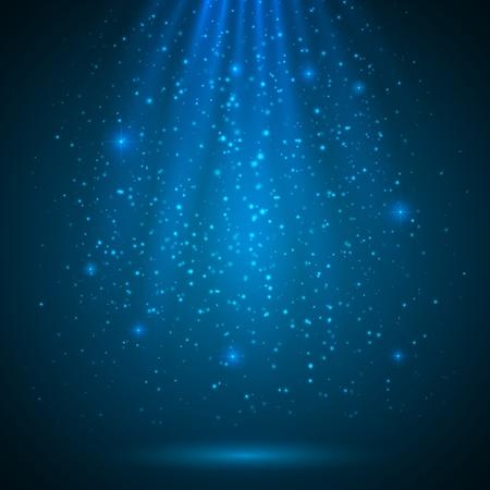 cielo estrellado: Azul brillante mágica luz de fondo vector