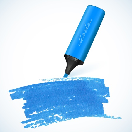 text marker: Blue vector marker with drawn spot