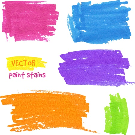 pen and marker: Vibrant colors vector felt pen stains