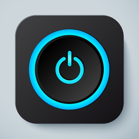 Black rounded square icon with power button Illustration