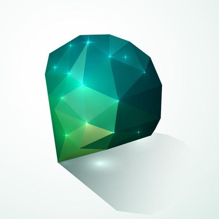 emerald gemstone: Green shining vector diamond Illustration