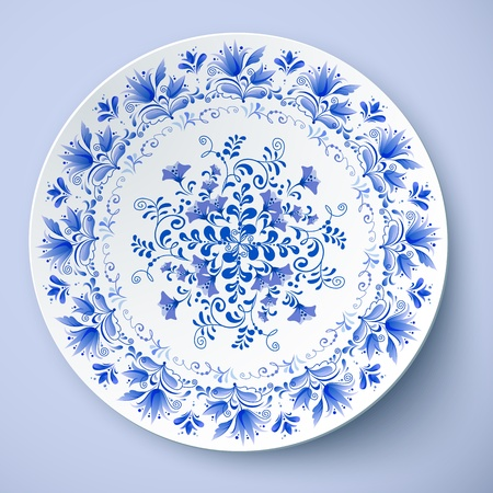 White vector plate with russian ornament in gzhel style
