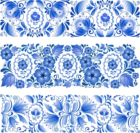 Russian traditional blue vector ornament in gzhel style