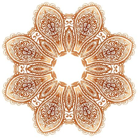 lacy: Ornate vintage beige doodle circle pattern Illustration