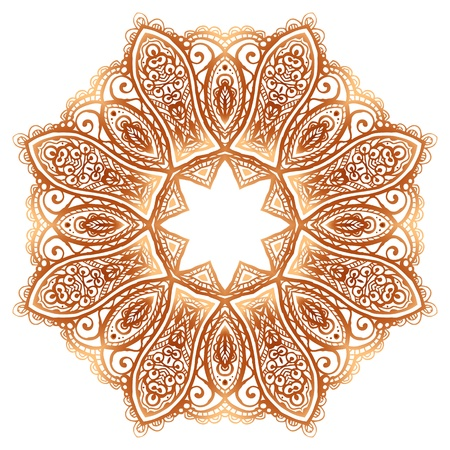 Ornate vintage beige doodle circle pattern Vector