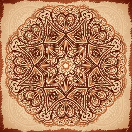 Ornate vintage napkin background in Indian mehndi style Vector
