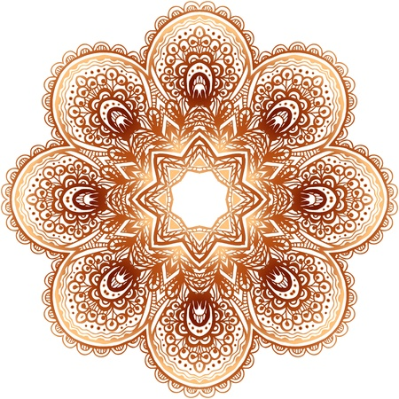 Ornate vintage beige vector doodle circle pattern Vector