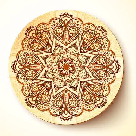 porcelain plate: Ornate vector plate with indian style ornament
