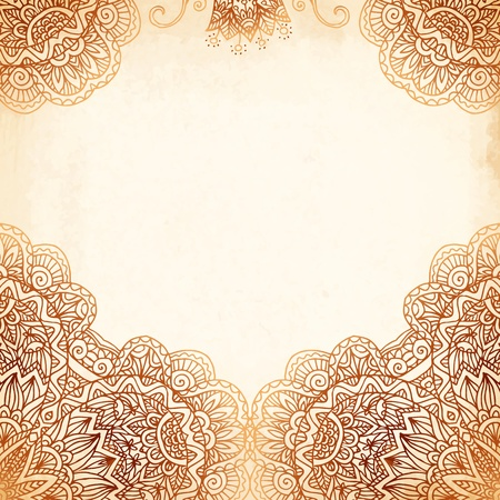 mehndi: Ornate vintage beige vector background in mehndi style