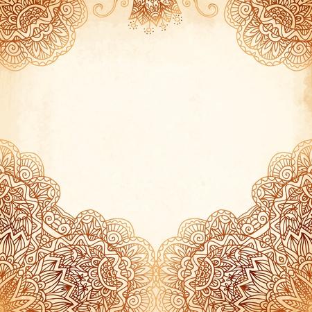 verschnörkelt: Verziert vintage beige Vektor Hintergrund in Mehndi Stil