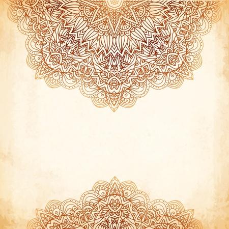frances: Adornado de la vendimia del vector del fondo color beige en estilo mehndi