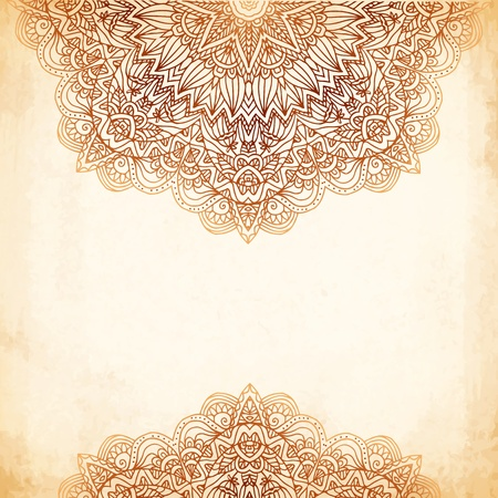 french style: Ornate vintage beige vector background in mehndi style