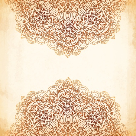 Ornate vintage beige vector background in mehndi style