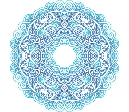 Ornate blue lacy vector circle pattern Vector