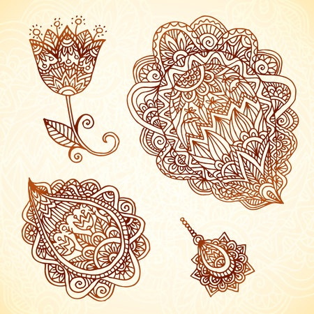 Ornate vintage vector lacy elements in Indian mehndi style Illustration