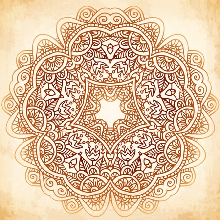 Ornate vintage beige vector background in mehndi style