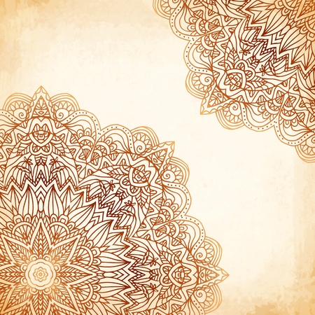 aristocrat: Ornate vintage beige vector background in mehndi style