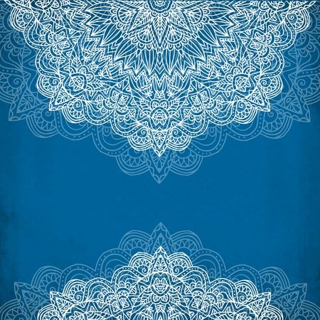 Ornate vintage blue vector background in mehndi style