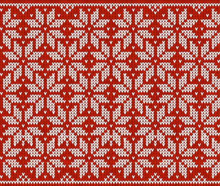 knitting needles: Red and white knitted snowflakes, vector seamless pattern Illustration