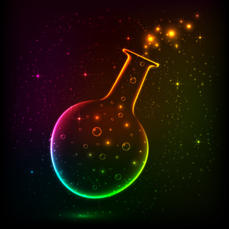 Shining rainbow bottle with flying magic lights Vector