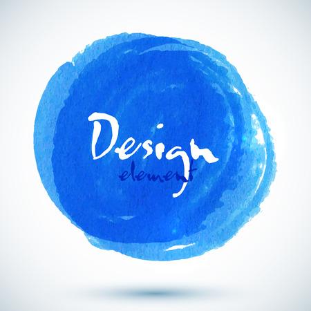 handmade: Bright blue watercolor vector circle