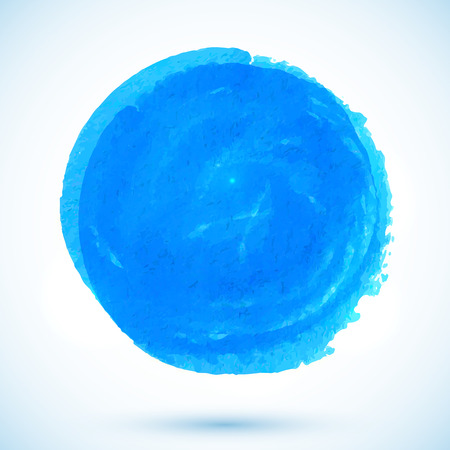 Blue vector watercolor paint circle stain with shadow Vector