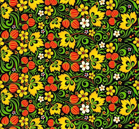 hohloma: Colorful vector seamless pattern in hohloma style