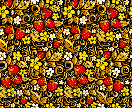 Vector seamless pattern in Russian Hohloma style Vector