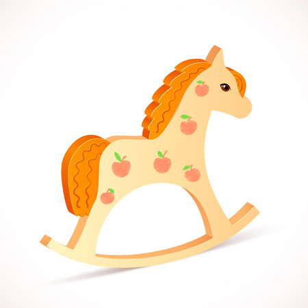 wooden horse: Wooden vector realistic horse toy on white background