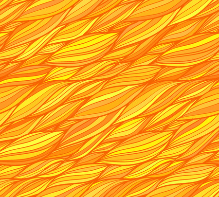 Orange vector doodle hair lines seamless pattern Vector