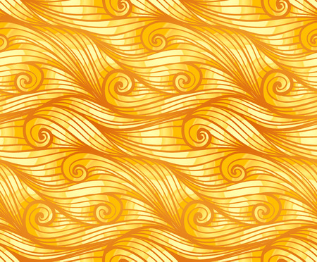 yellow fleece: Golden curly woolen waves vector seamless pattern Illustration