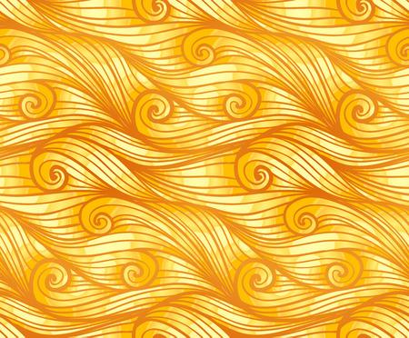 woolen: Golden curly woolen waves vector seamless pattern Illustration