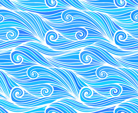 storm clouds: Blue vector curly doodle waves seamless pattern