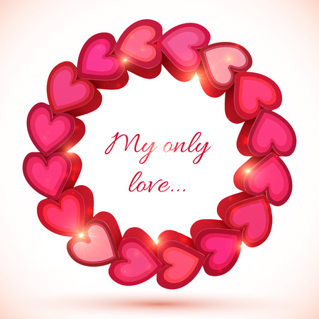 Pink 3d hearts vector shining frame with shadow Vector