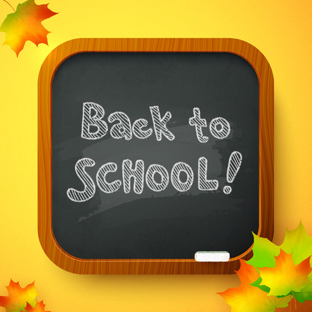 Back to school autumn black chalkboard vector card Vector