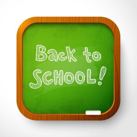 welcome desk: Vector wooden school board with green background and chalk sign Back to School
