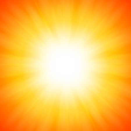 White shining vector sun on orange background Vector