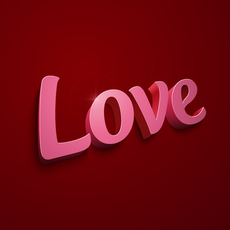 Crimson realistic plastic vector Love sign on red background Vector