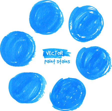 Circle blue textured marker vector color stains Vector