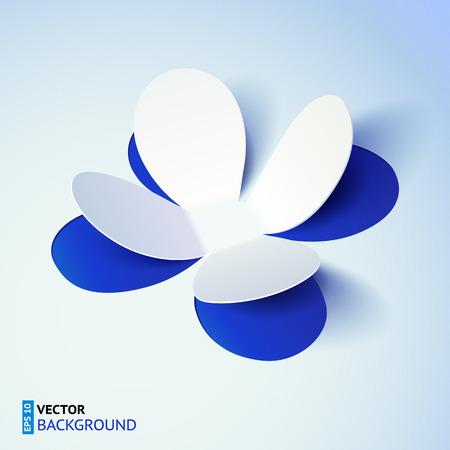 Recorte de papel vector de la flor de loto azul realista