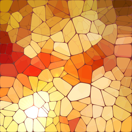 mosaic floor: Bright orange shining vector tiles glass mosaic