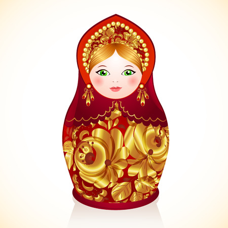 russian doll: Red and gold colors vector Russian doll, Matryoshka