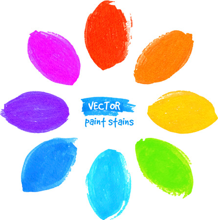 felt tip: Rainbow colors vector felt tip pen stains flower