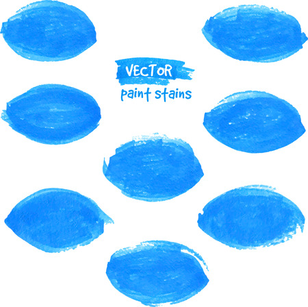 Blue vector felt tip pen textured leaf stains Vector