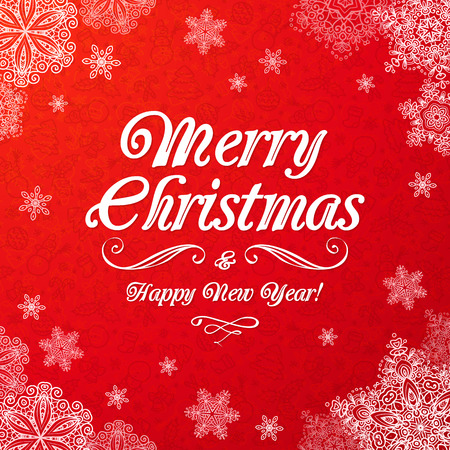 upscale: White ornate Merry Christmas sign on red ornate background