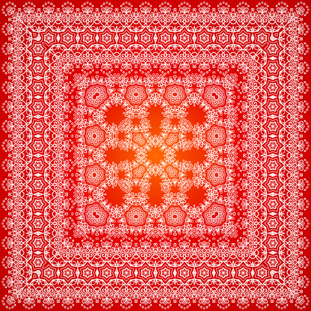 checkered scarf: Red ornate lacy shawl vector border pattern